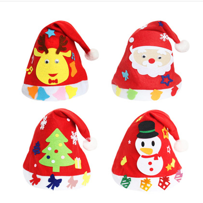 10pcsdiy Children Educational Toys Creative Handmade Diy Christmas Hat Material Kid Gifts Bouquet Party Decoration Driving A Roaring Trade Model Building Kits
