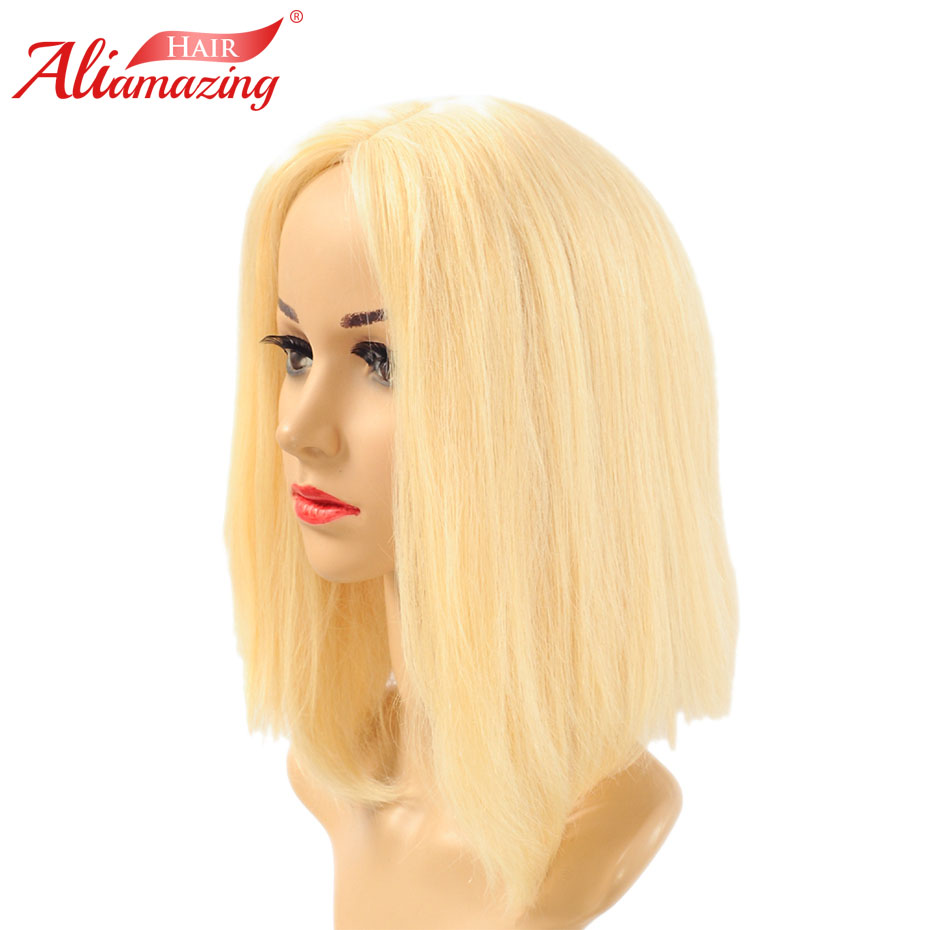 Ali Amazing Short Human Hair Bob Wig 150% Density blonde 613 Color Remy Brazilian Lace Front Human Hair Wig Pluck With Baby Hair