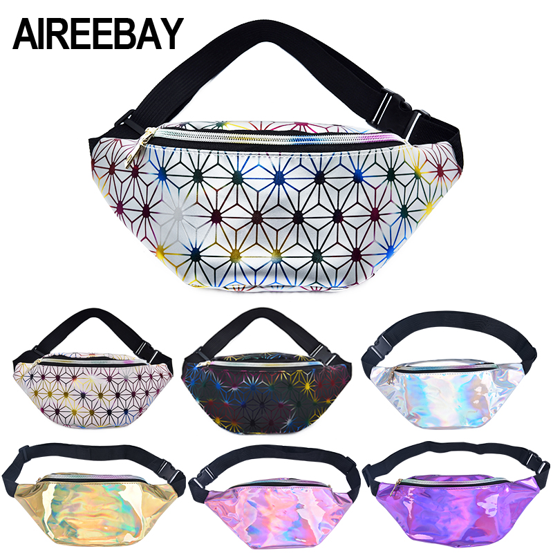 AIREEBAY Holographic Fanny Pack Women Pink Silver Waist Bag Female Belt Bag Black Geometric Waist Packs Laser Chest Phone Pouch