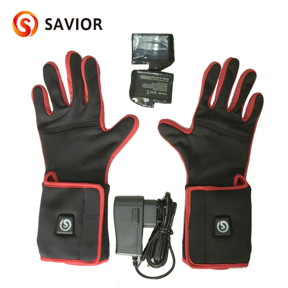 SAVIOR RED Heated Glove liner Powered For Winter Warmer 3 Level Control 3-6 Hours Heating outdoor sports 7.4V 2200MAh battery savior outdoor motorbike battery heated glove fishing waterproof riding racing heating man warming 40 65 degree leather en13594