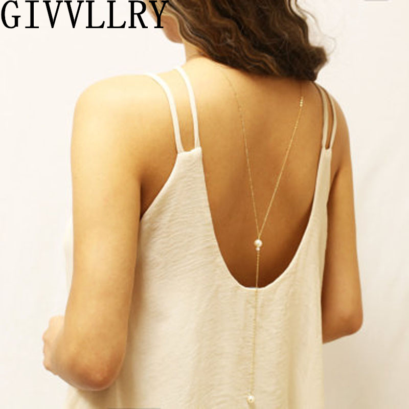 უფასო გადაზიდვა Backless Pearl მძივები ქალთა ფონზე მარგალიტი გულსაკიდი გრძელი ყელსაბამი საქორწილო სამკაულები Collares