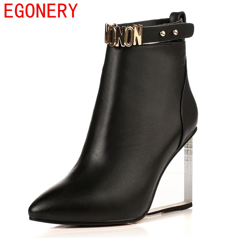 EGONERY shoes 2017 women ankle boots side zipper sequined riding equestrian boots white black pointed toe metal buckles shoes цены онлайн