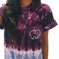 Otoño marfil ella ocio camiseta 2016 mujeres clothing tee rs247 elefante animal print camiseta de manga corta