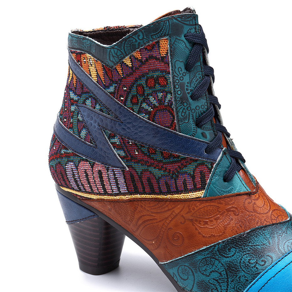 D Knight Bohemian Splicing Women Boots Retro Genuine Leather Shoes Woman Zipper Mid Heels Ankle Boots Spring Autumn Women Shoes (5)