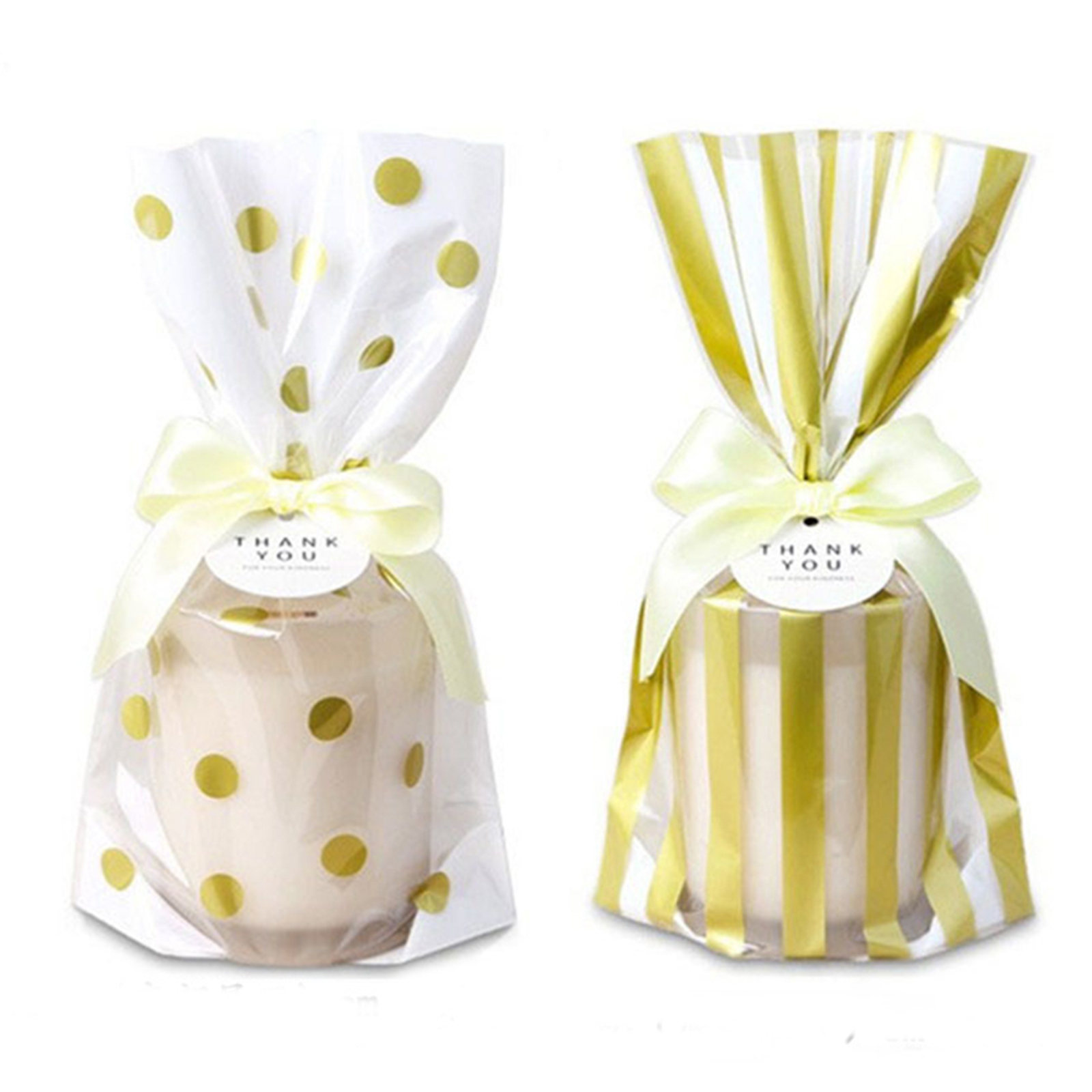 50PCS/lot Golden Dot Adhesive Bag Wedding Party Cookies Gift Food ...