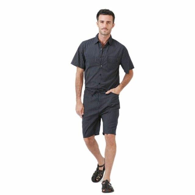 f6d60a3ae18a Big Yard 4XL Men Short Pants Jumpsuit 2018 Autumn New Men s Cotton Male One  Piece Overalls Romper Slim Stripe Trouser Black Blue
