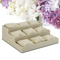 Hot 9 Grids Linen Cloth Jewelry Display Tray Holder Shop Presentation Organizer Storage Box For Earrings
