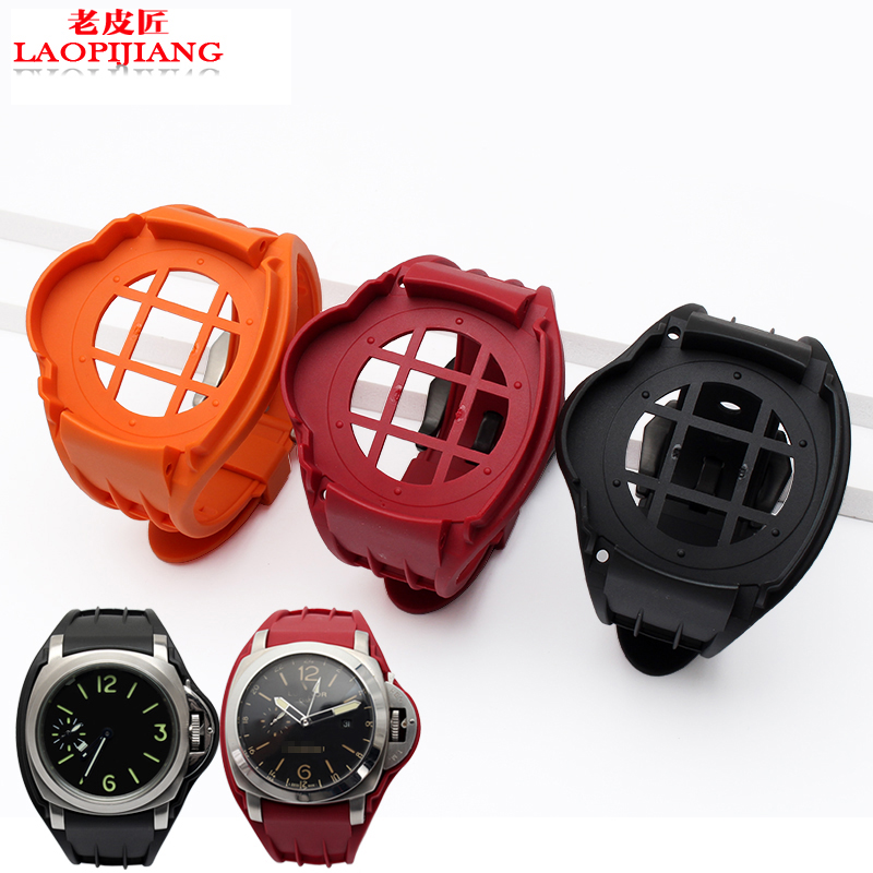 Natural silicone watchband black white waterproof bracelet rubber watch strap for Panera 38mm 42mm Dial 20mm cheap custom silicone bracelet black orange rubber watchband for mens waterproof silicone bracelet watch