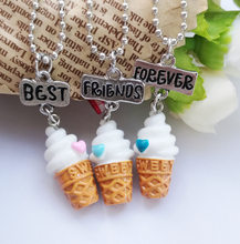3 Pcs/Set Best Friends BFF resin ice-cream pendant bead chain necklace,3 colors lead nickel cadmium free jewelry(China)