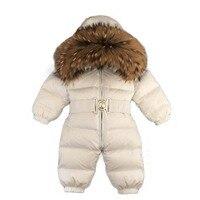 Детская одежда для девочек боди брендовая зимняя новорожденных Пуховики с воротником из меха енота комбинезон для маленьких мальчиков ком