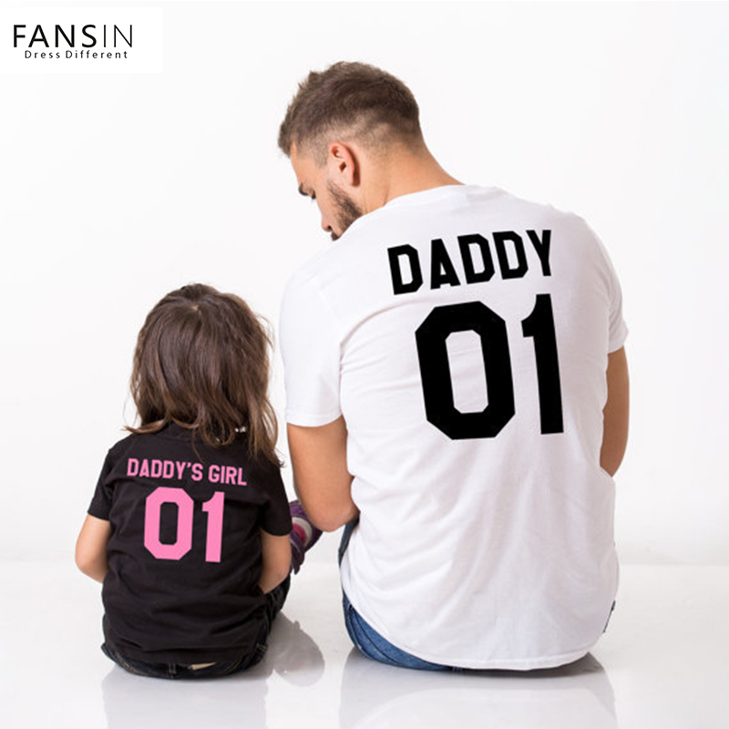 Fansin Family Clothing T Shirts Summer Father And Girl Matching Clothes 01 DADDY GIRL Letter Print