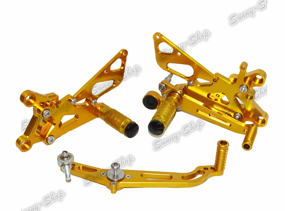 Motorcycle Adjustable Rider Rear Sets Rearset Foot Rest Pegs Gold For Yamaha YZF R6 2006 2007 2008 2009 2010 2011 2012 2013-2016 free shipping motorcycle parts silver cnc rearsets foot pegs rear set for yamaha yzf r6 2006 2010 2007 2008 motorcycle foot pegs