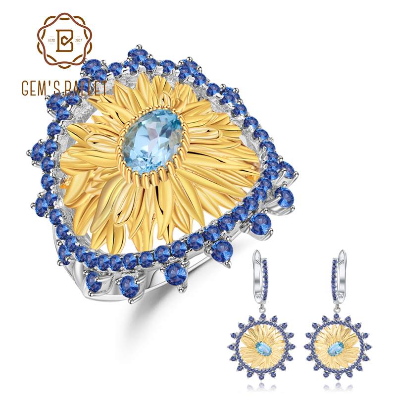 GEM S BALLET 2 2Ct Natural Swiss Blue Topaz Jewelry 925 Sterling Silver Handmade Sunflower Ring