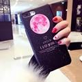 Funny cartoon pink moon planeta case para iphone 7 6 6 s Plus Moda Flying plane Duro PC Phone Cases Fundas caliente