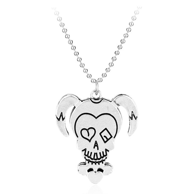 Alibaba aliexpress hot hot suicide squad necklace harley quinn joker stainless steel pendant beaded chain for women and men mozeypictures Gallery