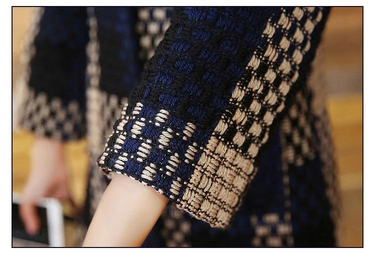 HanOrange 3 cuartos de la manga de la armadura del bolsillo temperamento elegante Contexture 2018 invierno de lana X-Plus tamaño - 5