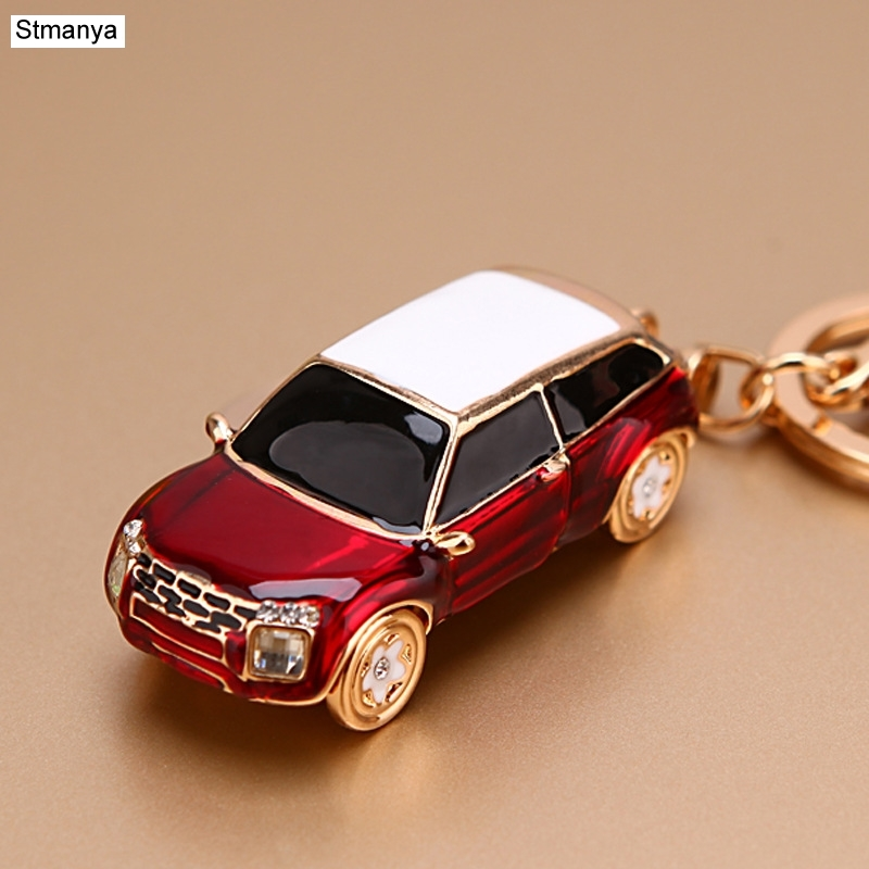 Hot Sale Crystal Car Key Chain New Metal Varied Key Holder Fashion Bag Charm Accessories Rhinestones Lovely Keychain K1724