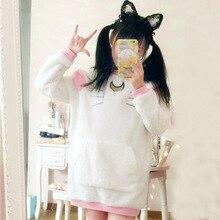 Negro / blanco sudaderas de lana de invierno gato Luna Cosplay rosada jerseys Sailor Moon Anime sudaderas sudaderas con capucha Tops