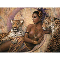 YSDAFEN Sexy Women And Leopard Animals DIY Painting By Numbers Abstract Painting Acrylic Picture For Home
