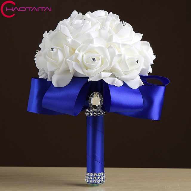 Wedding Bouquet 2018 Royal Blue Purple Red Fuchsia Rose Artificial ...