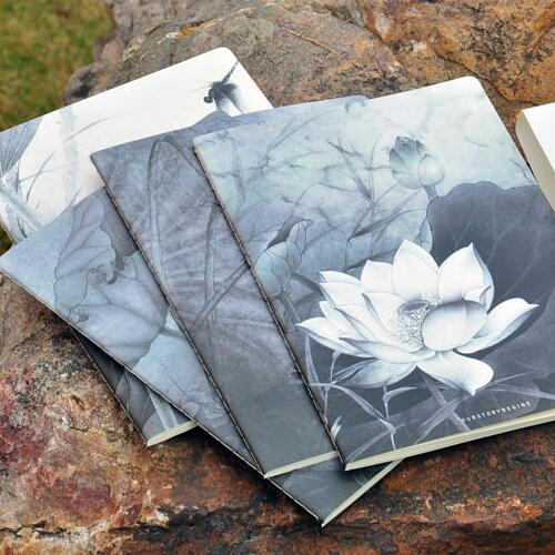 Lotus Flowers Exercise Book Pack of 4 Big Study Lined Notebook Diary Planner Workbook Composition Book bowen m way ahead 4 pupils book cd rom pack