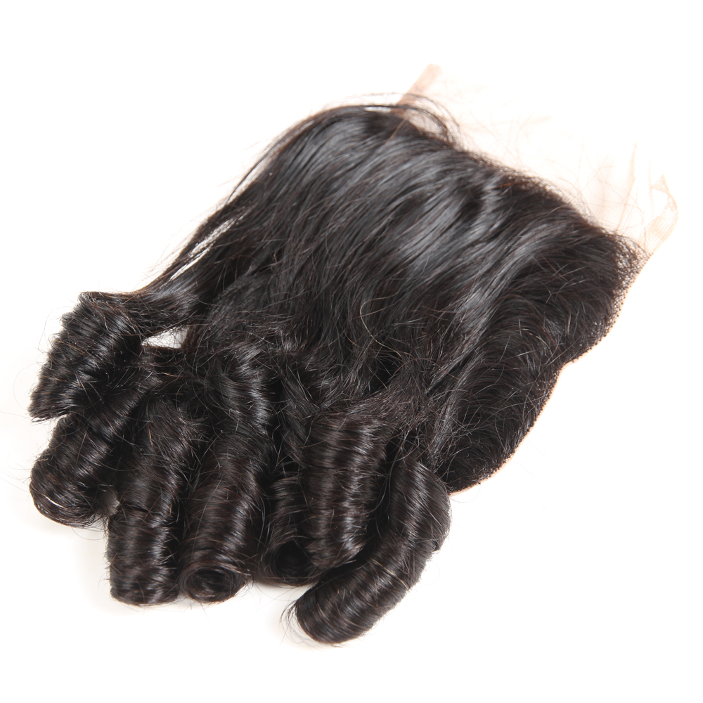 3/4 Bundles With Closure Megalook Brazilian Funmi Curly Hair Bundles With 4*4 Lace Closure Baby Curl 100% Human Hair Bundles With Lace Closure Remy Hair Human Hair Weaves