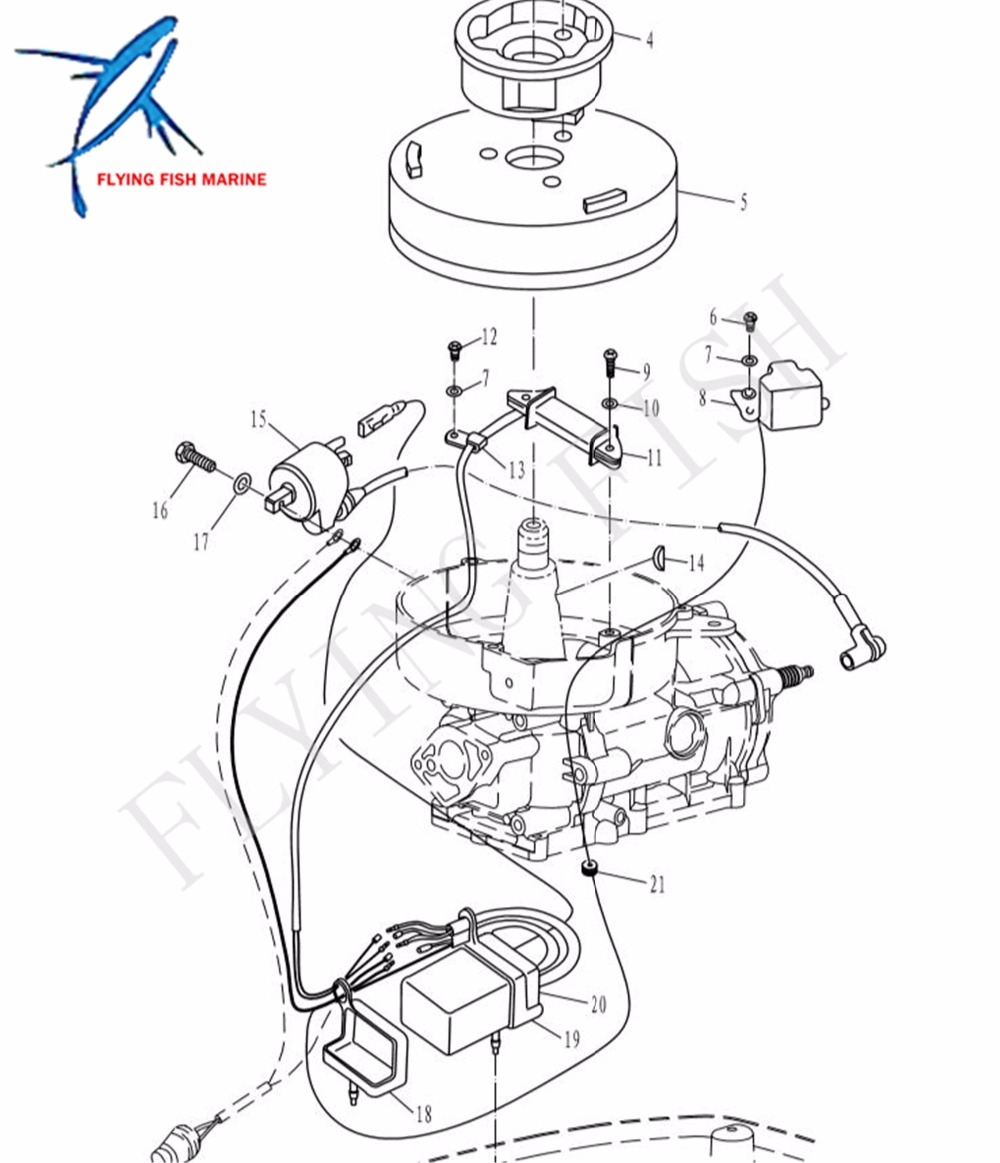 Boat motor t5 05000200 mag o coil assy for parsun 2 stroke t4 t5 t5 8 outboard engine high pressure coil yacht in boat engine from automobiles