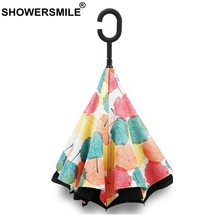 SHOWERSMILE Inverted Umbrella Windproof Folding Reverse Umbrella Double Layer Rain Protection Umbrella C-Hook Hands For Car 15pcs windproof reverse folding double layer inverted chuva umbrella self stand inside out rain protection c hook hands for car