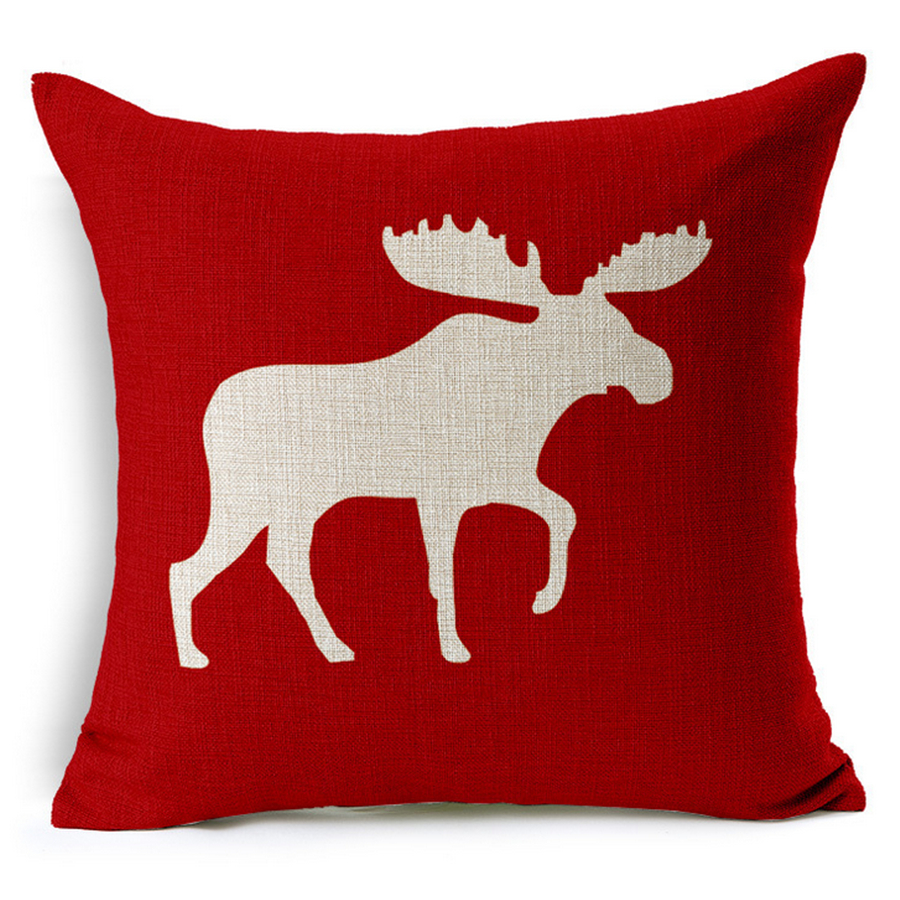 christmas decorations for home decor cushion cover red chair sofa throw decorative pillow cover christmas reindeer - Red Decorative Pillows