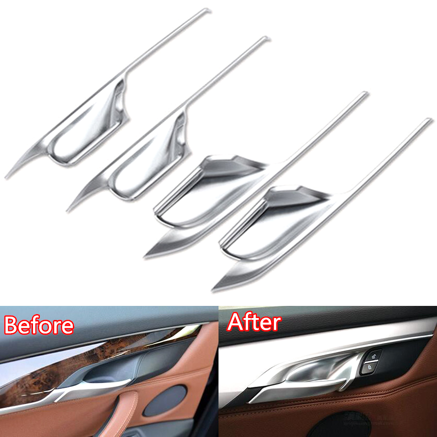 YAQUICKA 4Pcs/set Car Interior Door Handle Bowl Cover Trim Styling Sticker For BMW X5 F15 2014-2017 For BMW X6 F16 2015-2017 ABS accessories for bmw x5 f15 2014 2016 x6 f16 2014 2017 abs rear armrest box decoration molding cover trim 2 pcs set