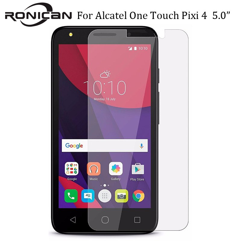 RONICAN Tempered Glass Screen Protector For Alcatel One Touch Pixi 4 (5) 5010 Pixi4 5.0 5010D 5010X Screen Protective Film Case