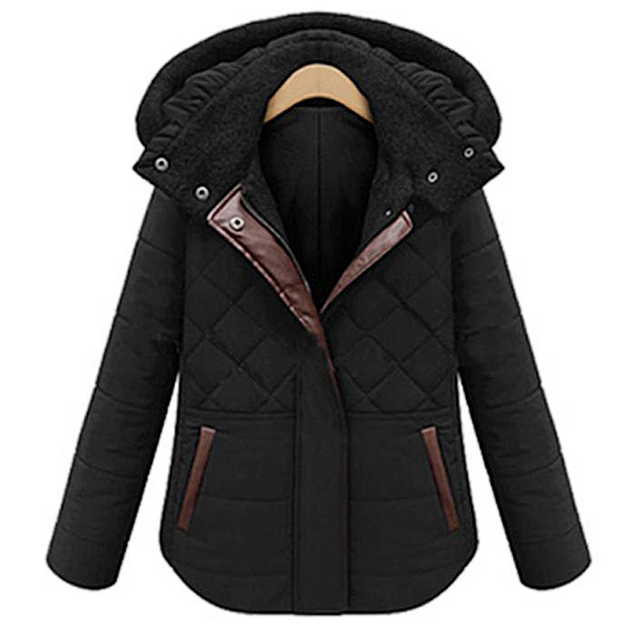 Fashion Women Winter Thick Warm Padded Jacket Paragraph Short Coat Removable Hat