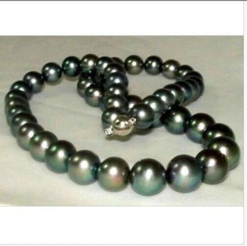 Superbe collier de perles noires de tahiti 10-11mm parfait rond 18 pouces 925 argent or