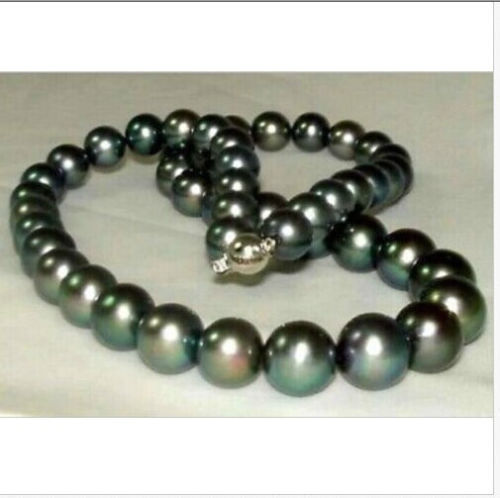 stunning 10-11mm perfect round tahitian black pearl necklace 18inch 925silver GOLDstunning 10-11mm perfect round tahitian black pearl necklace 18inch 925silver GOLD