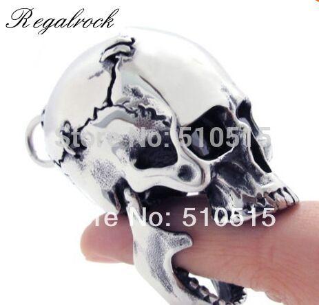 Regalrock Hot Steampunk Large 3D Cranium Skull Biker Pendant Necklace