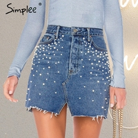 Simplee Casual Split Pearls Denim Skirts Womens Button Skinny Diamond Mini Skirt 2018 Streetwear Chic Korean