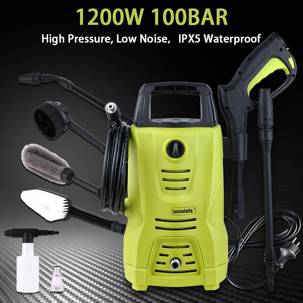 High Pressure Cleaner Car Washer 1200w 100 Bar 1450 PSI Spray Gun Detergent Bottle Turbo Water Hose Self-washing Machine