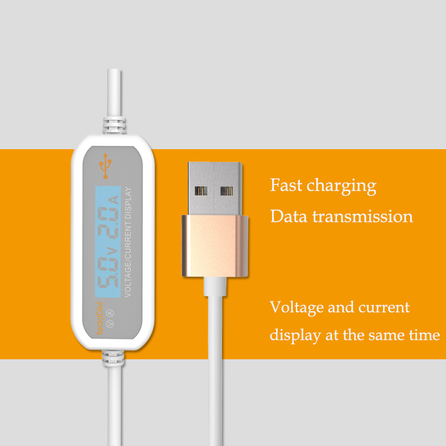 1m Micro Usb Type C Voltage Current Tester Meter Display Nylon And Qc 20 30 Fast Charging Cable Iphone