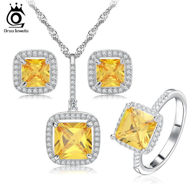 Princess Cut Simulated Diamond Zircon Jewelry Set for Women Wedding and Engagement OS67