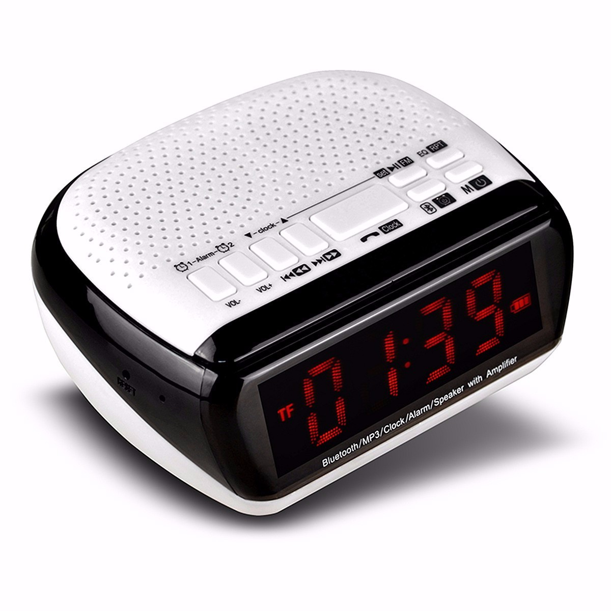 excellent wireless bluetooth v 2 1 led display digital speaker alarm clock fm radio mp3 player. Black Bedroom Furniture Sets. Home Design Ideas