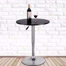 Goplus Modern Round Bar Table Adjustable Bistro Pub Counter Wood Top Swivel Indoor Home Table Portable Furniture HW52760(China)