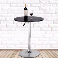 Goplus Modern Round Bar Table Adjustable Bistro Pub Counter Wood Top Swivel Indoor Home Table Portable