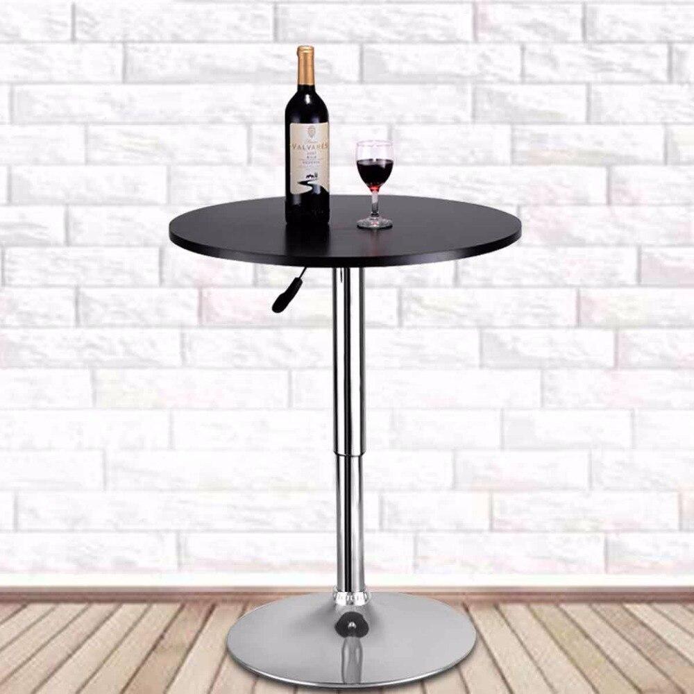 Goplus moderne Table de Bar ronde réglable bistrot Pub comptoir bois Top pivotant intérieur maison Table Portable meubles HW52760