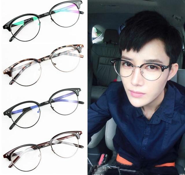cd6ee56f0e2 Hot Sale 2015 Brand Unisex Metal Semi Rimless Men round Glasses Fashion  Women Eyeglasses Frame Clear