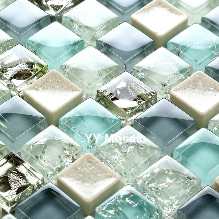 Mediterranean Blue White Gray Crystal Glass Mosaic Tile Diy Kitchen Backsplash Bath Shower Wall Sticker Tv