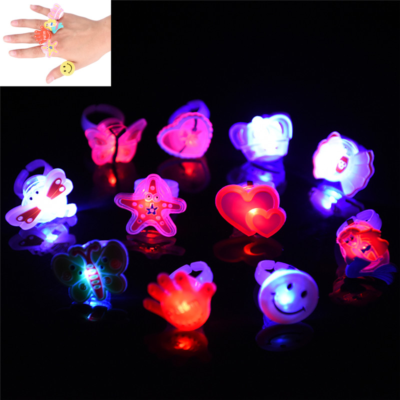 1 Set Cartoon LED Flashing Light Rings Halloween Party Glow Blinking Ring Gift For Kid's