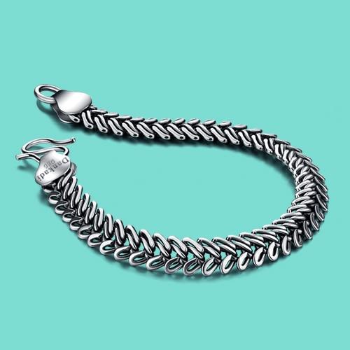 Men's 925 sterling silver bracelet special snake design chain Vintage thai silver men popular jewelry birthday present 10mm20cm