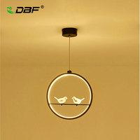 DBF Modern Art Bird LED Pendant Light 3 Colors Adjustable Creative 2 Birds Restaurant Light