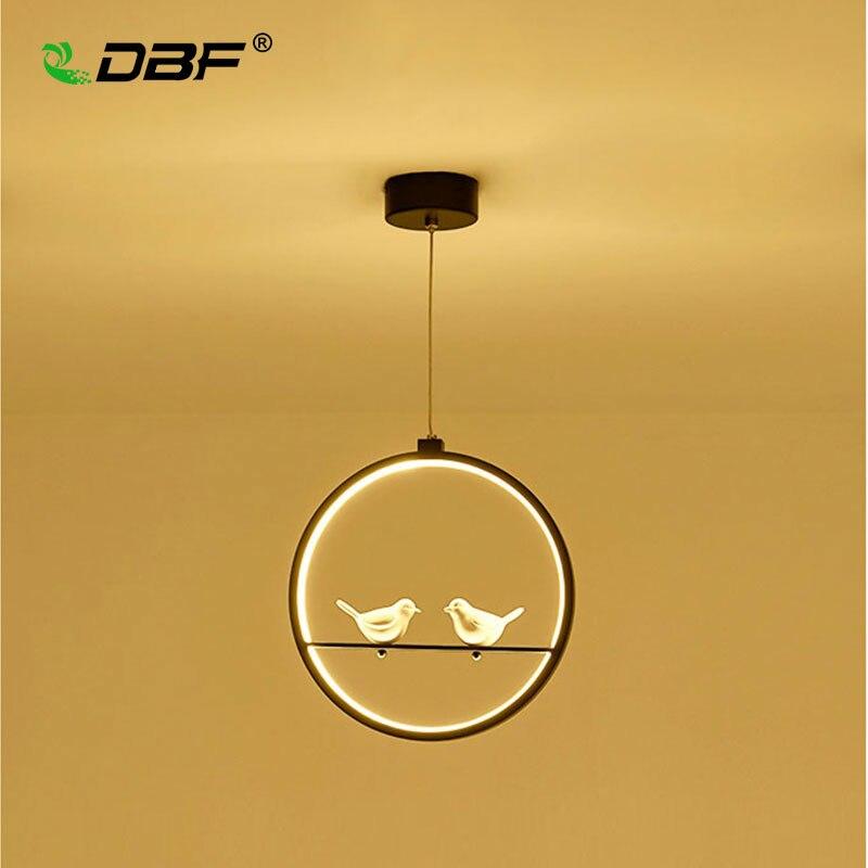 [DBF]Modern Art Bird LED Pendant Light 3 colors Adjustable Creative 2 Birds Restaurant Light Foyer Bedroom Hanging Light Fixture