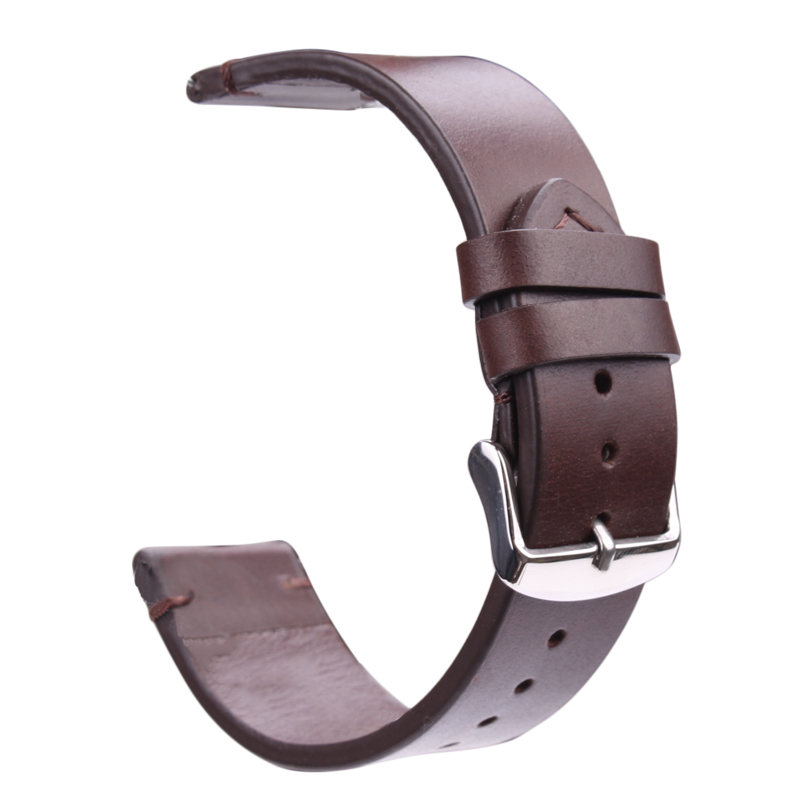 купить HENGRC Genuine Leather Watchband 18mm 20mm 22mm Light Brown Dark Brown Retro Watch Band Strap With Steel Buckle Spring Bar по цене 540.58 рублей